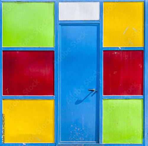 metal door in colored panels