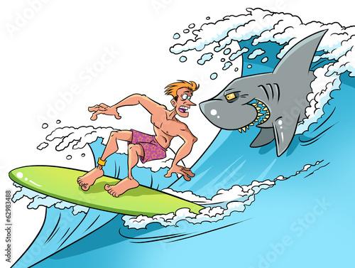Surfer and  smiling shark
