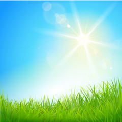 Rasen mit strahlender Sonne