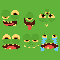 Set Of Different Cartoon Faces Isolated