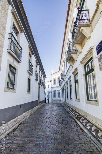 historical streets on the old town of Faro, Portugal.