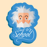 Funny Albert Einstein Cartoon Portrait Isolated poster