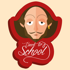 Funny William Shakespeare Cartoon Portrait Isolated