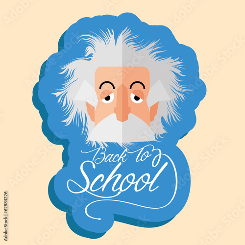 poster of Funny Albert Einstein Cartoon Portrait Isolated