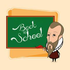 Miguel De Cervantes Cartoon In A Classroom Scene