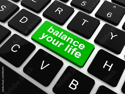 balance your life button on computer keyboard, raster