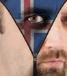 Unzipping face to flag of Iceland
