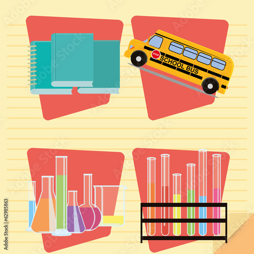 Set Of Stylish Cartoon Different School Related Elements