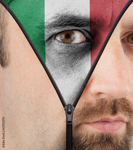 Unzipping face to flag of Italy