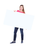 Beautiful woman holding a blank billboard isolated on white
