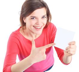 Woman showing empty blank paper sign board