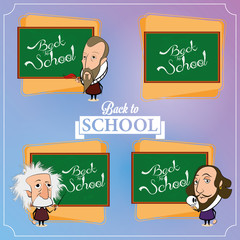 Set Of Chalkboards With Characters And Space For Text