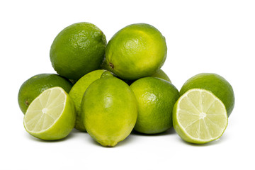 lime fruit isolated on a white background.