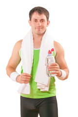 portrait of sportsman  with white cotton towel and bottle of wat