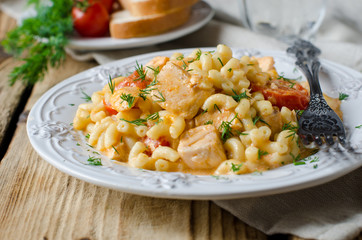 Pasta with salmon and cherry tomatoes