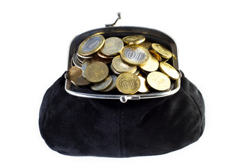 Black purse full of coins