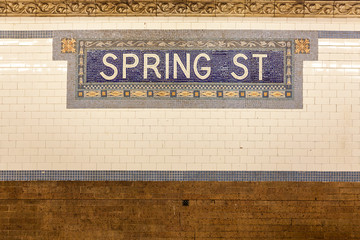 Spring Street Subway Station sign