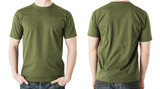 man in blank khaki t-shirt, front and back view