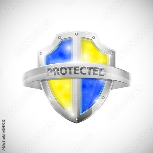 Protection Icon With Glossy Shield.
