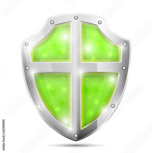 Glossy Magic Green Shield Icon.