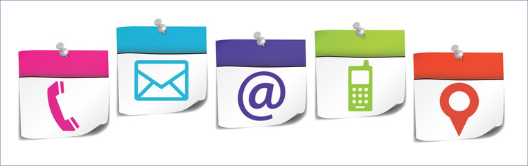post-it : contact business icons on white background (cs5)