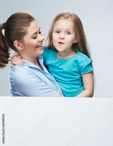 Business woman with kid girl isolated portrait behind white boa