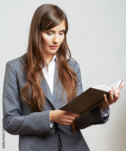 Business woman hold business paper. Female model isolated
