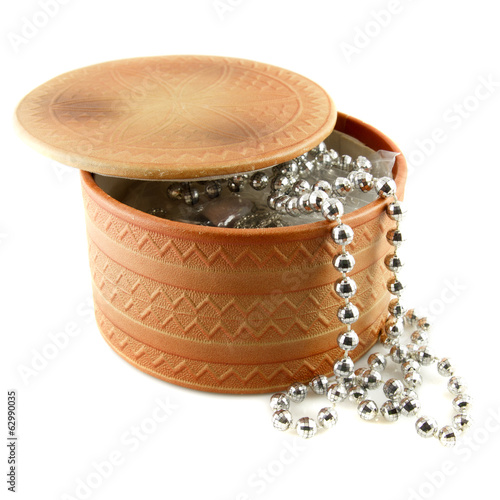 Leather box with jewelry