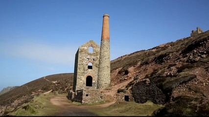 Cornwall coast tin mine England UK near St Agnes