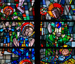 Nativity: birth of Jesus in stained glass