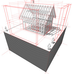 Framework house with dimensions diagram