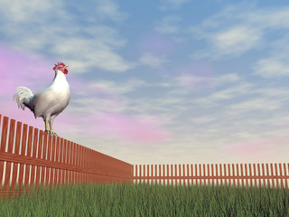 Rooster crowing - 3D render
