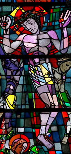 Jesus Christ crucified. Stained glass