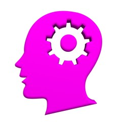 Human head pink gear 3d logo image