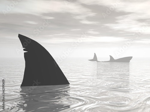 Sharks in the ocean - 3D render