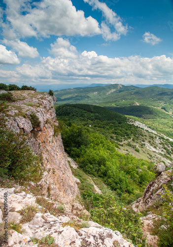 View from mountain tableland. Mangup Kale, Crimea, Ukraine