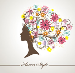 Flower Style. Beautiful female profile.