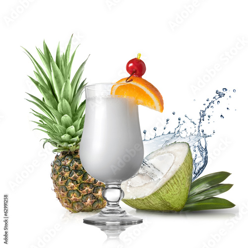 pina colada cocktail in front of pineapple and coconut isolated