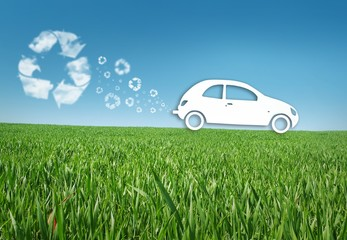 Eco car in the grass, recycle concept