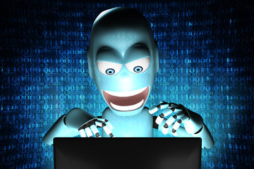 Nerd Robot hacker with blue binary code on background