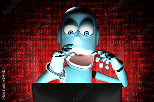 Nerd Robot hacker arrested with red binary code on background