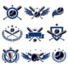 Baseball labels and icons set. Vector