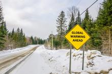 Koncepcyjne znak ostrzegawczy z globalnym ociepleniem