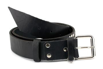Rock style leather belt and bracelet isolated on white backgroun