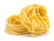 Italian egg pasta nest isolated on white background