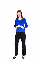 Woman holding business card.