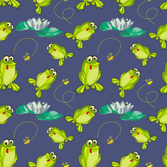 Frog and flies background