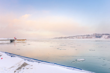 Freezing Fog Drifting over the St Lawrence River at Sunset