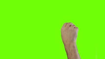 Touchsrcean gestures of a masculin male hand on green screen.