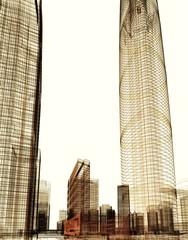 città grattacieli illustrazione rendering 3d